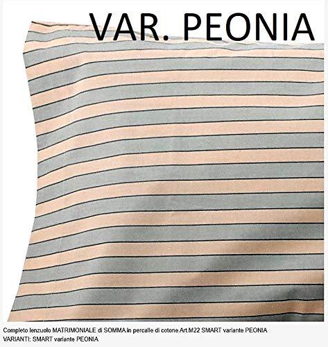 Somma Lenzuola Matrimoniali Completo Cotone Percalle Smart VAR Peonia