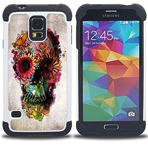 """SAMSUNG Galaxy S5 V / i9600 / SM-G900 - 3 en 1 impreso colorido de Altas Prestaciones PC Funda chaqueta Negro cubierta gel silicona suave (Papel floral de la mariposa Primavera Profundo"""")"""