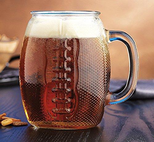 Giant XL Glass Jumbo Football mug 37oz Tailgate Beer (Scene Large Mug)
