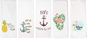 Cute Kitchen Towels, Fun Dish Towels with Flamingo, Nautical, Beach Theme, 5 White Kitchen Towels