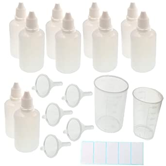 JZK 10 Frascos cuentagotas plástico botellas cuentagotas 50ml con vaso medidor, pipetas, embudos y