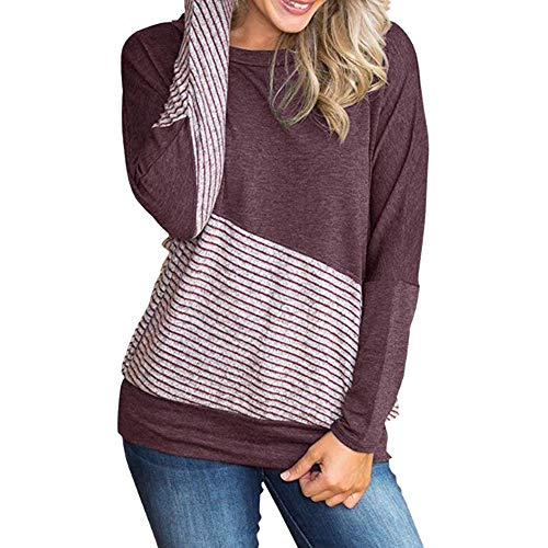 Oasisocean Womens Blouse, Color Block T-Shirt Blouses Patchwork Striped Tops Long Sleeve Casual Blouse Round Neck -