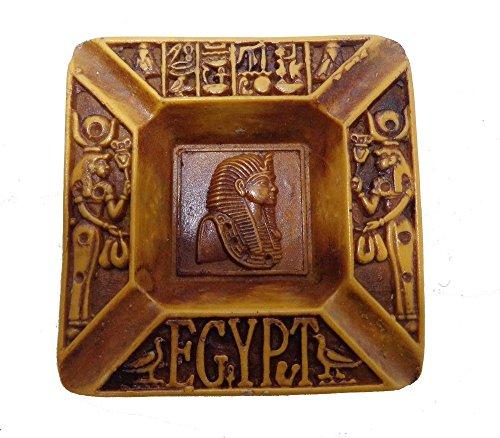 Egyptian Antique Ashtray Plate Pharaoh King TUT Resin Scarab Hieroglyphics 236 (Model 4)]()