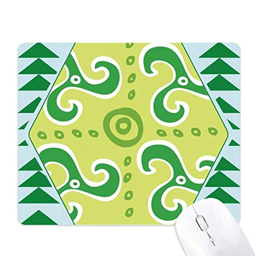 Green Spiral Dart Mexico Totems Ancient Civilization Mouse Pad Green Pine Tree Rubber Mat