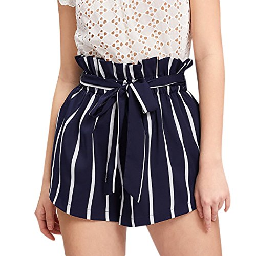HAALIFE◕‿Women's Casual Elastic Waist Striped Summer Beach Shorts with Pockets Navy ()