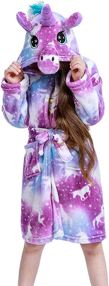 Unisex Childrens Flannel Unicorn Bathrobes Hoodie Unicorns Gifts for Girls