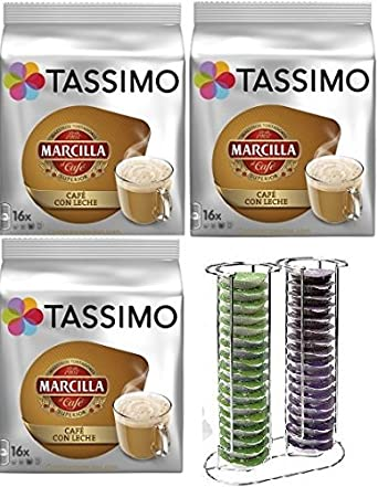 Tassimo Marcilla Café con Leche 48 bebidas más 1 Soporte Cápsulas ...