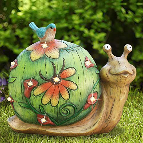 "Garden Statue Snail Figurine - Solar Powered Outdoor Lights for Indoor Garden Lawn Yard Decorations, 10""x8.5"", Housewarming Gift"