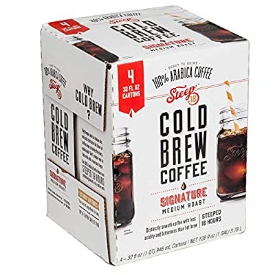 Steep 18 Cold Brew Arabica Coffee, Signature Medium Roast (Pack of 4)