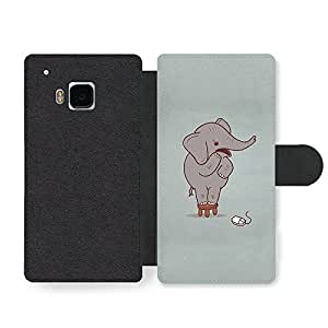 Scared Elephant on a Stool and Mouse Funny Illustration Faux Leather case for HTC One M9
