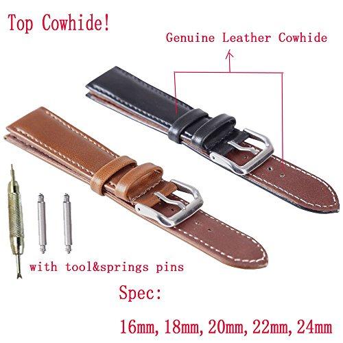 USONGLAN Genuine Leather Watch Bands Top Calf Grain Leather Watch Strap 16mm 18mm 20mm 22mm 24mm for Men and Women (18mm, Brown)