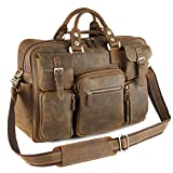 Kattee Multi-Pocket Leather Messenger Bag Brown