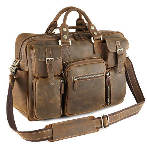Kattee Multi-Pocket Leather Messenger Bag Brown by Kattee