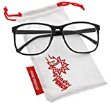 grinderPUNCH Black Large Nerdy Thin Plastic Frame Clear Lens Eye Glasses Frame