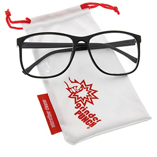 grinderPUNCH Black Large Nerdy Thin Plastic Frame Clear Lens Eye Glasses - Lenses Glasses Plastic