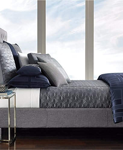 Hotel Collection Quadre Blue Queen Coverlet Bedding