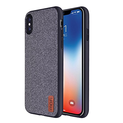 Mofi iPhone X Cases Covers with Art Cloth & Soft TPU Edge and Full-edge Protection Shock- absorbing and with Great Grip Fully Compatibale for iPhoneX(gray) Great Iphone Covers