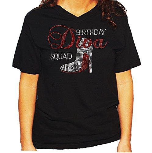 Diva T-shirt Rhinestone - Women's/Unisex T-Shirt with Birthday Diva Squad with Heel in Rhinestones (Large, Black V-Neck)
