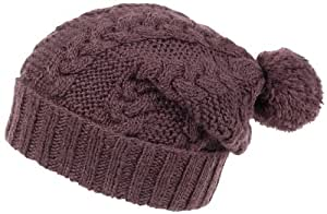 Nirvanna Designs CH509 Cable Knit Slouch Hat with Pom Pom and Fleece, Brown