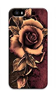 3D Hard Plastic Case for iPhone 5 5S 5G,Retro Rose Case Back Cover for iPhone 5 5S