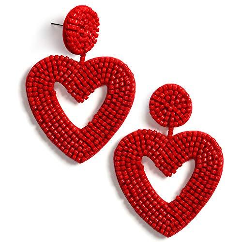 Statement Beaded Drop Earrings Bohemian Handmade Love Heart Drop Dangle Earrings Studs Gifts for Women Girls (Red) (Red Heart Earrings)