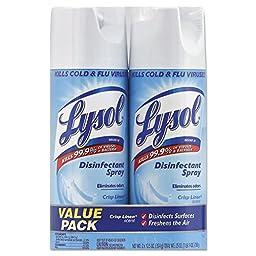 LYSOL Brand RAC89946 Disinfectant Spray, Crisp Linen, 12.5 oz Aerosol, 2/Pack, 6 Pack/Carton (Pack of 12)