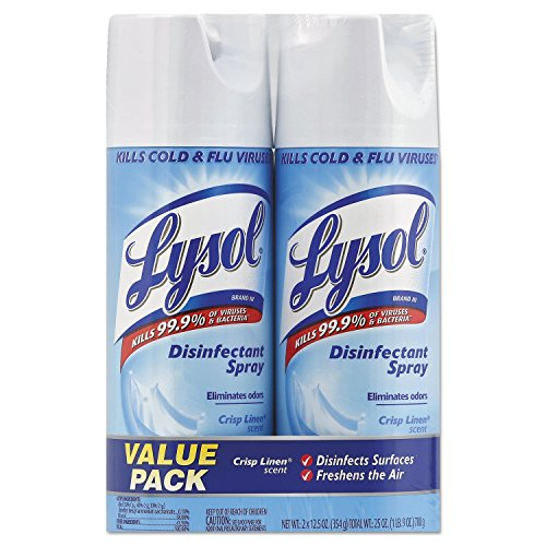12.5 Ounce Aerosol (LYSOL Brand RAC89946 Disinfectant Spray, Crisp Linen, 12.5 oz Aerosol, 2/Pack, 6 Pack/Carton (Pack of 12) )