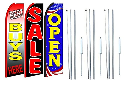 Best buys here sale Open King Swooper Feather Flag Sign Kit With Complete Hybrid Pole set- Pack of 3 by OnPoint Wares