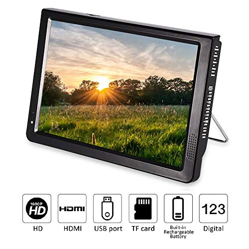 "12 inch Portable Digital Television, Fosa Small 16:9 ATSC 1080P HD HDMI Video Player TFT LED TV Built-in Rechargeable Battery Support USB and TF Card for Car, Caravan, Camping, Outdoor or Kitchen(12"")"