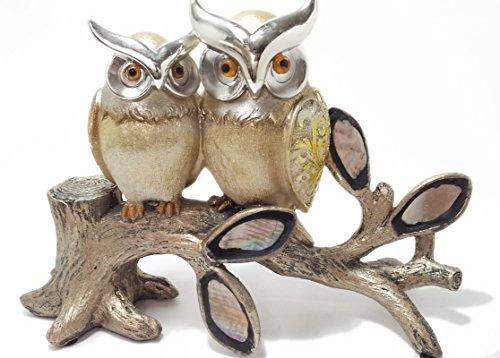 Golden Owl Tree Gold Horizontal Plated Heart Christmas Velantine Love Romantic Gift Resin Figurine Home Decorative Accessories Home Decor Figure (Velantine Gift)