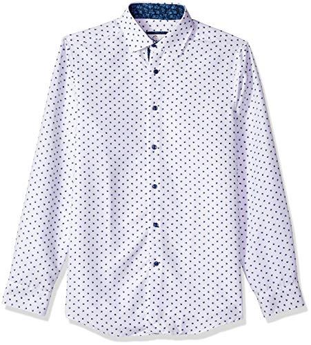 Azaro Uomo Men's Printed Dress Shirt Casual Button Down Slim Fit Gents Long, White-Pine ()