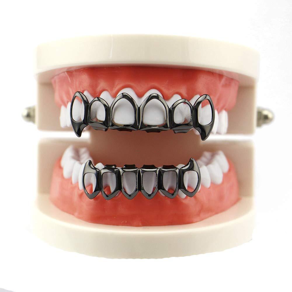 OHQ MODA Polvere Denti,Teeth Whitening, Denti Migliora Salute Orale,1Pcs Hip Hop Denti Grillz Top e Bottom bocca Griglie Denti Moda rimovibile