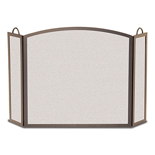 - Pilgrim Home and Hearth 18206 Full Arch Tri Panel Fireplace Screen, 52″W x32.5″H 29 lbs, Burnished Bronze