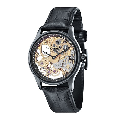 Thomas Earnshaw Men's 'Bauer Mechanical Skeleton' Mechanical Hand Wind Stainless Steel and Leather Dress Watch, Color:Black (Model: ES-8049-08)