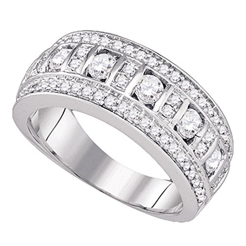 Womens Diamond Fashion Band Solid 14k White Gold Cocktail Ring Round Channel Set Three Row Fancy 1.00 ctw