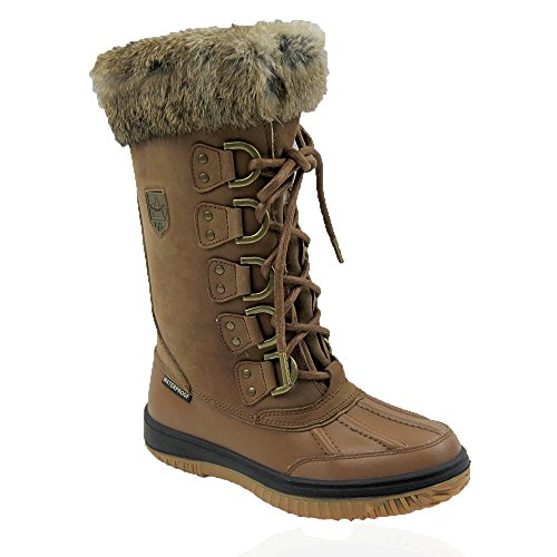 Waterproof Leather Women's Winter Moda Ice Cold Boots Comfy Snow Arctic Weather Tan Guaranteed gwqX0CHx5