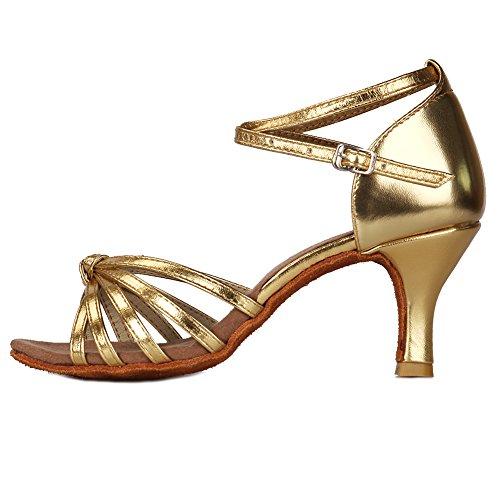 Roymall Womens Satin Latinska Dansskor Modell 217 7cm Guld