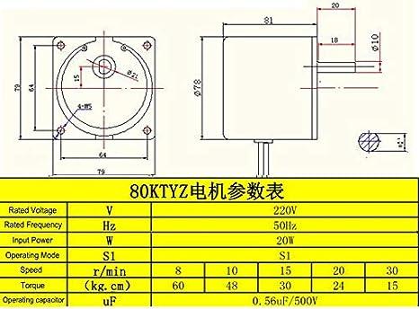 Fetcus 60W Permanent Magnet Synchronous Motor 220V AC Motor 60kg.cm High Torque Mini Low Speed 8~30rpm CW CCW Gear Reducer Speed: 220V 8rpm 60kg.cm