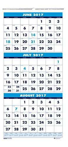 House of Doolittle 2017 - 2018 Three-Month Academic Wall Calendar, 8 x 17 Inches, June - July (HOD3645-18)