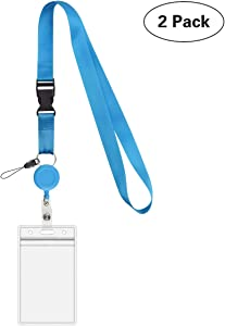 2 Pack - Cruise Retractable Lanyard with Heavy Duty Retractable Bagde Holder Reel Clip and Vertical Vinyl PVC Waterproof Resealalbe ID Card Pouch
