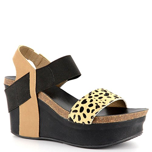 Corkys Wedge Donna Sandalo 11 B (m) Ci Multi-ghepardo-nero