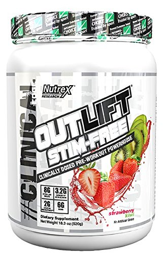 Nutrex Research Outlift Stim-Free | Clinically Dosed Caffeine Free Pre-Workout Powerhouse | Citrulline, BCAA, Creatine, Beta-Alanine, Taurine, Banned Substance Free | Strawberry Kiwi | 20 Servings