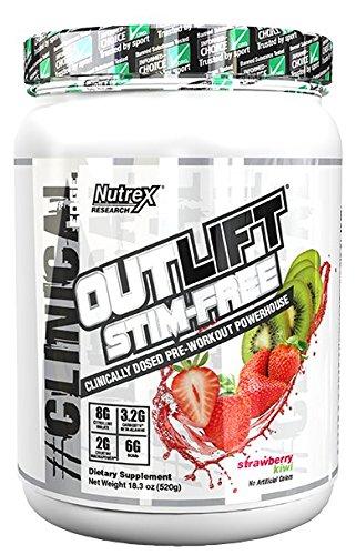 Nutrex Research Outlift Stim-Free Pre-Workout Powder, Strawberry Kiwi, 18.3 Ounce