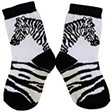 Animal World - Zebra Head & Stripe Youth Socks - Medium White