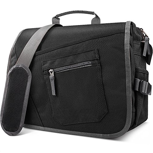 "Price comparison product image Qipi Messenger Bag - Shoulder Bag for Men & Women, 15"" Laptop Pocket (Black)"