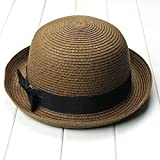 OULII Fashion Women s Girls Bowknot Roll-up Wide Brim Dome Straw Summer Sun  Hat Bowler 129e7640a26e
