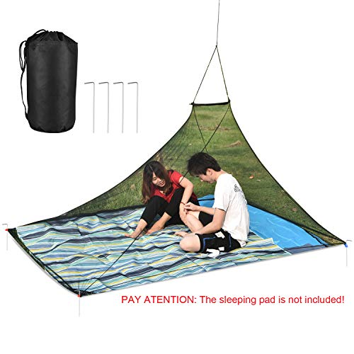 OTraki Double Mosquito Net for Camp 8 x 6 ft Travel Portable Anti Mosquito Nets with Carry Bag 4 PCS Stakes Fit Sleeping Bag 2 Person Netting Cover Outdoor Hanging Mesh Tent Black