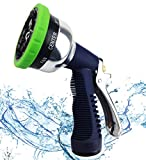 Professional Garden Hose Nozzle Spray Nozzle, 9 Adjustable Watering Patterns, Metal Body & Grip, High Pressure - Suitable for Watering Lawn and Garden, Washing Dogs & Pets