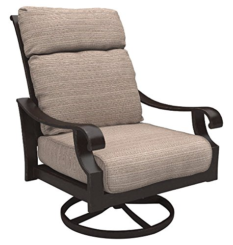 Ashley Furniture Signature Design - Chestnut Ridge Outdoor Swivel Lounge Chair with Cushion - Set of 2 - Brown (Cushions Clearance High Patio Back Chair)