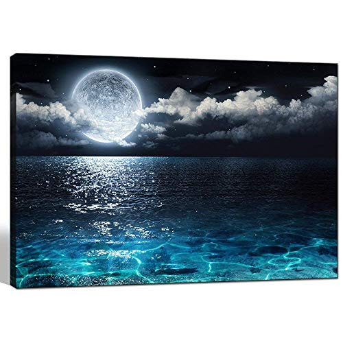 Sea Charm - Modern Canvas Wall Art Large Full Moon in Cloud Landscape Picture Canvas Prints with Frame,Blue Clear Ocean Seascape Giclee Artwork (24